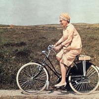 Juliana, former queen of The Netherlands, on a bicycle, 1967. Photographer unknown. ANP